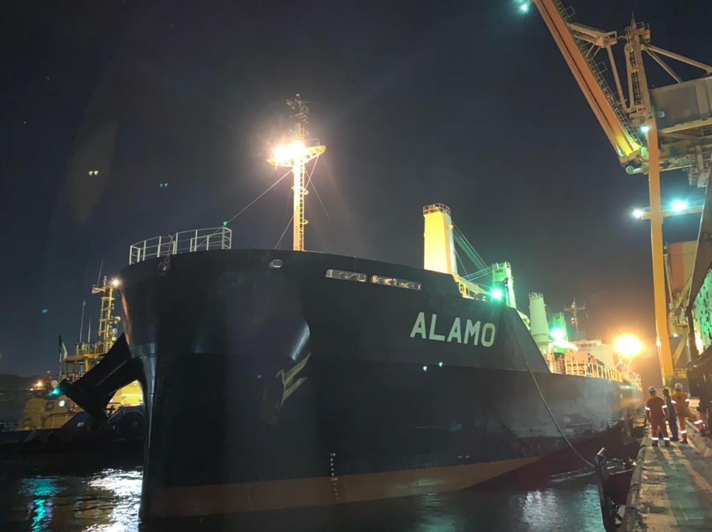 Navio de concentrado de cobre em descarga no Porto de Aratu-Candeias