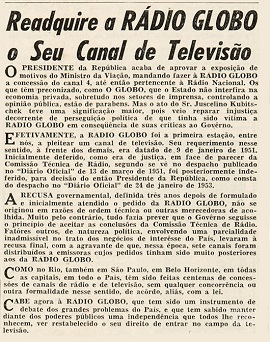 Concession of the TV channel to Rádio Globo